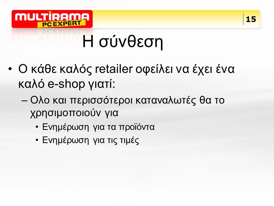H σύνθεση Ο κάθε καλός retailer οφείλει να έχει ένα καλό e-shop γιατί: –Ολο και περισσότεροι καταναλωτές θα το χρησιμοποιούν για Ενημέρωση για τα προϊόντα Ενημέρωση για τις τιμές 15