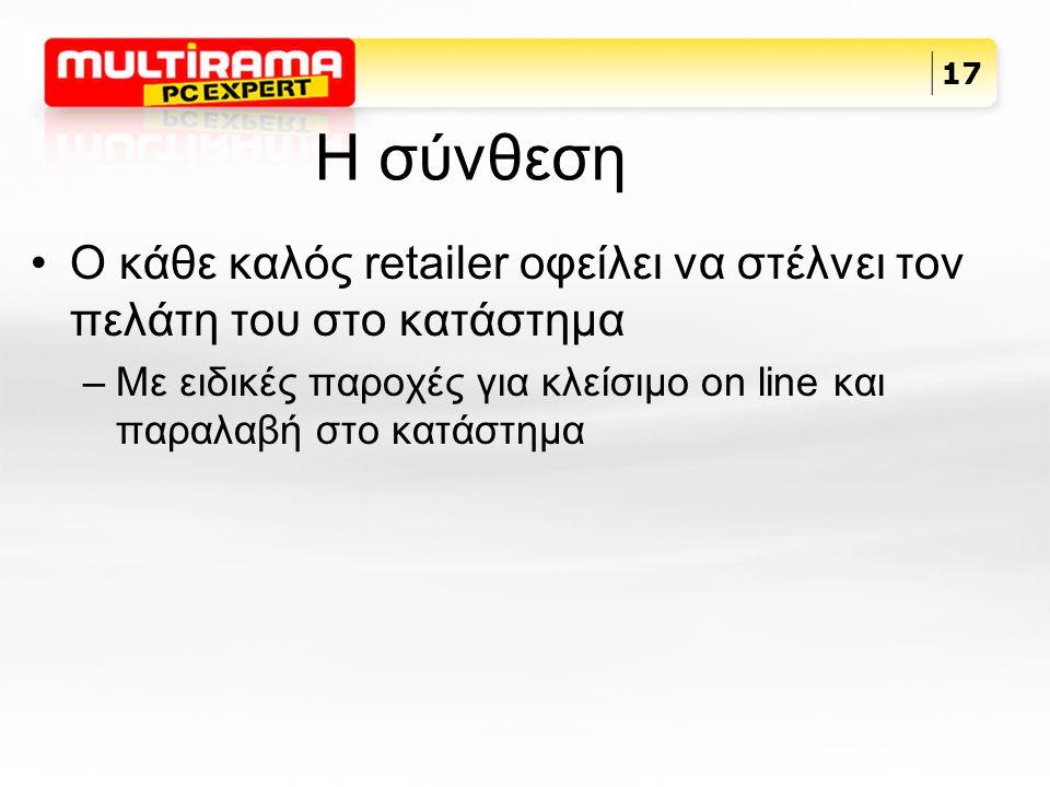 H σύνθεση Ο κάθε καλός retailer οφείλει να στέλνει τον πελάτη του στο κατάστημα –Με ειδικές παροχές για κλείσιμο on line και παραλαβή στο κατάστημα 17