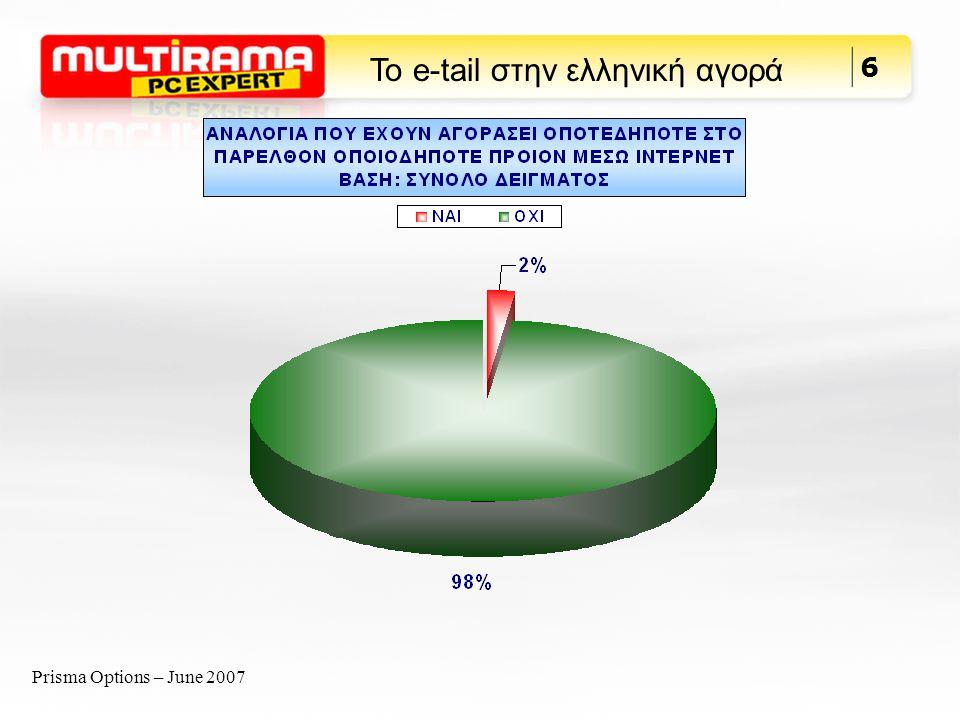 Prisma Options – June 2007 7 Το e-tail στην ελληνική αγορά