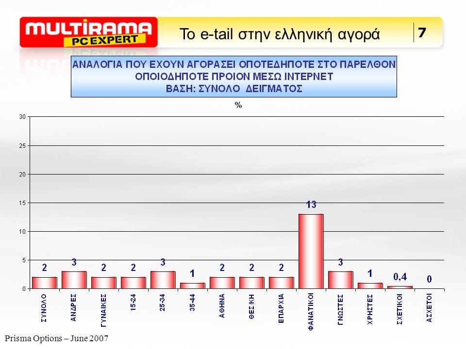 Prisma Options – June 2007 8 Το e-tail στην ελληνική αγορά