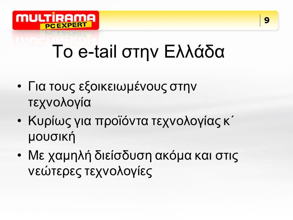 Το e-tail στην Ελλάδα Για τους εξοικειωμένους στην τεχνολογία Κυρίως για προϊόντα τεχνολογίας κ΄ μουσική Με χαμηλή διείσδυση ακόμα και στις νεώτερες τεχνολογίες 9