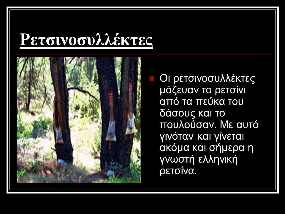 Ρετσινοσυλλέκτες Οι ρετσινοσυλλέκτες μάζευαν το ρετσίνι από τα πεύκα του δάσους και το πουλούσαν. Με αυτό γινόταν και γίνεται ακόμα και σήμερα η γνωστ