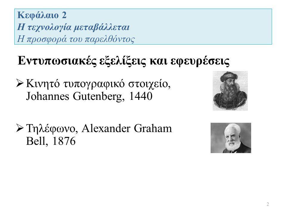 Κεφάλαιο 2 Η τεχνολογία μεταβάλλεται Η προσφορά του παρελθόντος Εντυπωσιακές εξελίξεις και εφευρέσεις 2  Κινητό τυπογραφικό στοιχείο, Johannes Gutenberg, 1440  Τηλέφωνο, Alexander Graham Bell, 1876