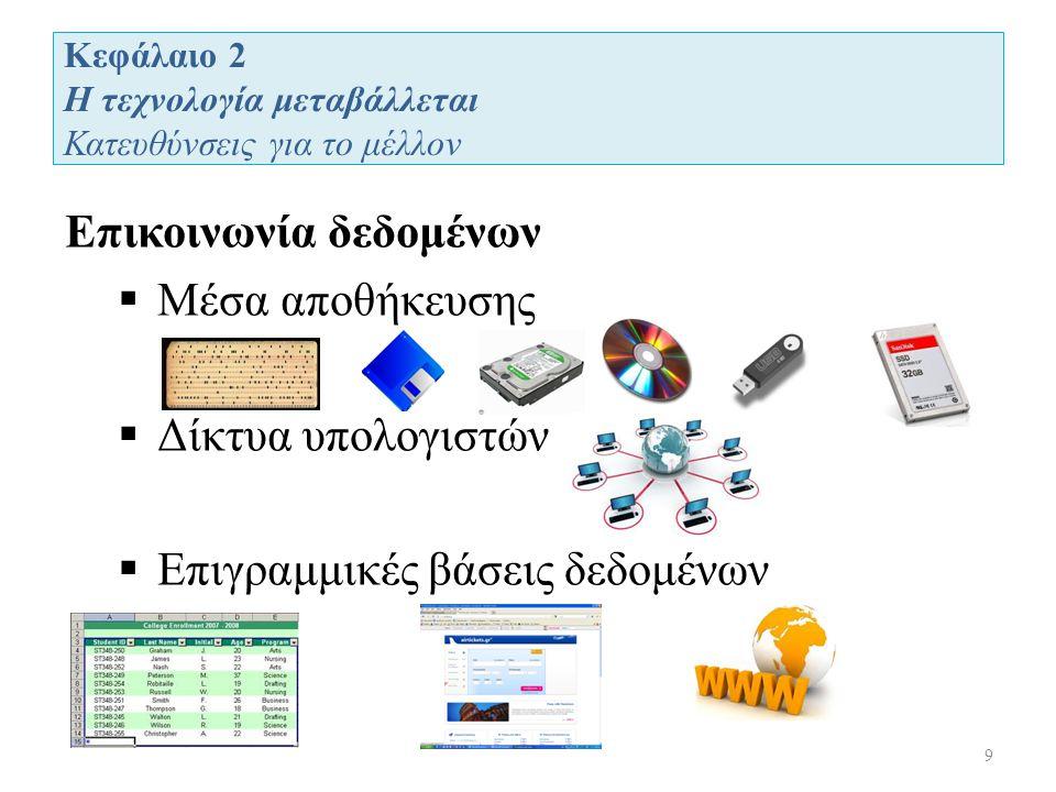 Κεφάλαιο 2 Η τεχνολογία μεταβάλλεται Κατευθύνσεις για το μέλλον 9 Επικοινωνία δεδομένων  Μέσα αποθήκευσης  Δίκτυα υπολογιστών  Επιγραμμικές βάσεις δεδομένων
