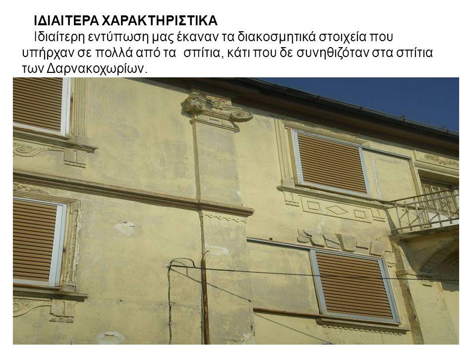ΙΔΙΑΙΤΕΡΑ ΧΑΡΑΚΤΗΡΙΣΤΙΚΑ Ιδιαίτερη εντύπωση μας έκαναν τα διακοσμητικά στοιχεία που υπήρχαν σε πολλά από τα σπίτια, κάτι που δε συνηθιζόταν στα σπίτια