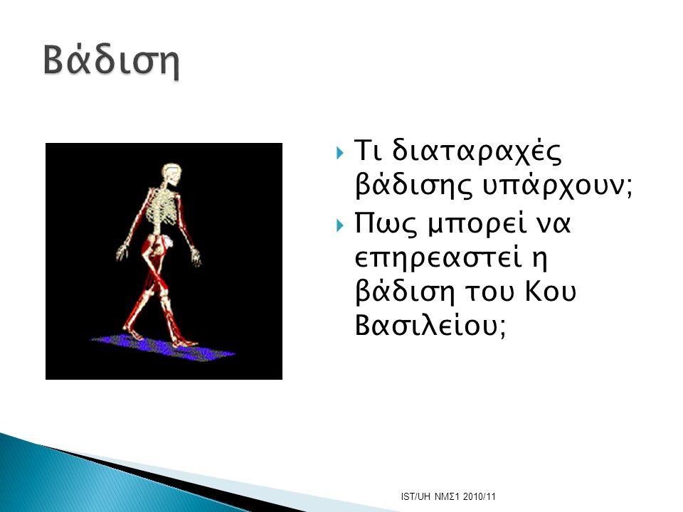  Τι διαταραχές βάδισης υπάρχουν;  Πως μπορεί να επηρεαστεί η βάδιση του Κου Βασιλείου; IST/UH ΝΜΣ1 2010/11