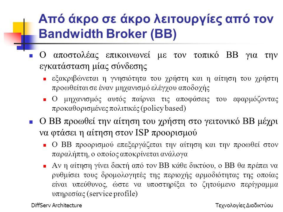 DiffServ ArchitectureΤεχνολογίες Διαδικτύου Από άκρο σε άκρο λειτουργίες από τον Bandwidth Broker (ΒΒ) Ο αποστολέας επικοινωνεί με τον τοπικό ΒΒ για την εγκατάσταση μίας σύνδεσης εξακριβώνεται η γνησιότητα του χρήστη και η αίτηση του χρήστη προωθείται σε έναν μηχανισμό ελέγχου αποδοχής Ο μηχανισμός αυτός παίρνει τις αποφάσεις του εφαρμόζοντας προκαθορισμένες πολιτικές (policy based) Ο ΒΒ προωθεί την αίτηση του χρήστη στο γειτονικό ΒΒ μέχρι να φτάσει η αίτηση στον ISP προορισμού Ο ΒΒ προορισμού επεξεργάζεται την αίτηση και την προωθεί στον παραλήπτη, ο οποίος αποκρίνεται ανάλογα Αν η αίτηση γίνει δεκτή από τον ΒΒ κάθε δικτύου, o BB θα πρέπει να ρυθμίσει τους δρομολογητές της περιοχής αρμοδιότητας της οποίας είναι υπεύθυνος, ώστε να υποστηρίξει το ζητούμενο περίγραμμα υπηρεσίας (service profile)