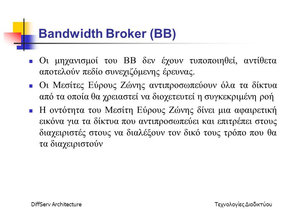 DiffServ ArchitectureΤεχνολογίες Διαδικτύου Bandwidth Broker (ΒΒ) Οι μηχανισμοί του ΒΒ δεν έχουν τυποποιηθεί, αντίθετα αποτελούν πεδίο συνεχιζόμενης έρευνας.