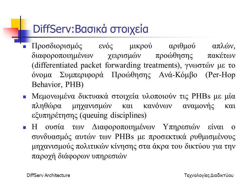 DiffServ ArchitectureΤεχνολογίες Διαδικτύου DiffServ:Βασικά στοιχεία Προσδιορισμός ενός μικρού αριθμού απλών, διαφοροποιημένων χειρισμών προώθησης πακέτων (differentiated packet forwarding treatments), γνωστών με το όνομα Συμπεριφορά Προώθησης Ανά-Κόμβο (Per-Hop Behavior, PHB) Μεμονωμένα δικτυακά στοιχεία υλοποιούν τις PHBs με μία πληθώρα μηχανισμών και κανόνων αναμονής και εξυπηρέτησης (queuing disciplines) Η ουσία των Διαφοροποιημένων Υπηρεσιών είναι ο συνδυασμός αυτών των PHBs με προσεκτικά ρυθμισμένους μηχανισμούς πολιτικών κίνησης στα άκρα του δικτύου για την παροχή διάφορων υπηρεσιών