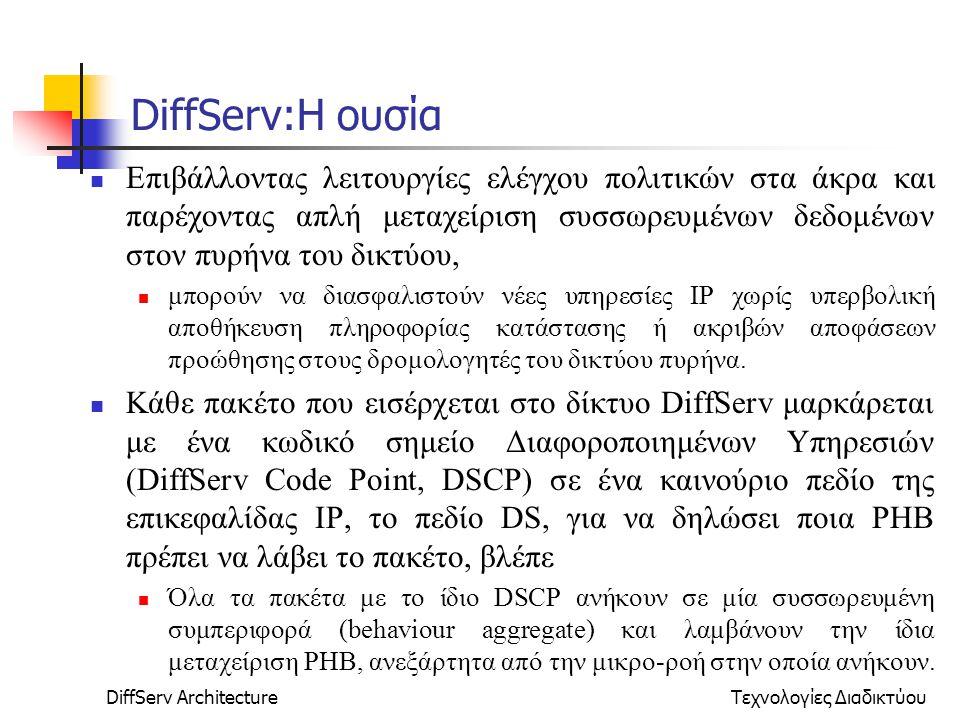 DiffServ ArchitectureΤεχνολογίες Διαδικτύου DiffServ:Η ουσία Επιβάλλοντας λειτουργίες ελέγχου πολιτικών στα άκρα και παρέχοντας απλή μεταχείριση συσσωρευμένων δεδομένων στον πυρήνα του δικτύου, μπορούν να διασφαλιστούν νέες υπηρεσίες ΙΡ χωρίς υπερβολική αποθήκευση πληροφορίας κατάστασης ή ακριβών αποφάσεων προώθησης στους δρομολογητές του δικτύου πυρήνα.