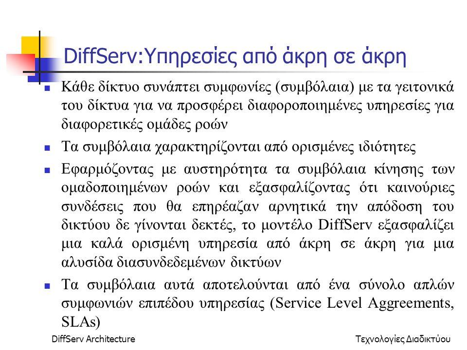 DiffServ ArchitectureΤεχνολογίες Διαδικτύου DiffServ:Υπηρεσίες από άκρη σε άκρη Κάθε δίκτυο συνάπτει συμφωνίες (συμβόλαια) με τα γειτονικά του δίκτυα για να προσφέρει διαφοροποιημένες υπηρεσίες για διαφορετικές ομάδες ροών Τα συμβόλαια χαρακτηρίζονται από ορισμένες ιδιότητες Εφαρμόζοντας με αυστηρότητα τα συμβόλαια κίνησης των ομαδοποιημένων ροών και εξασφαλίζοντας ότι καινούριες συνδέσεις που θα επηρέαζαν αρνητικά την απόδοση του δικτύου δε γίνονται δεκτές, το μοντέλο DiffServ εξασφαλίζει μια καλά ορισμένη υπηρεσία από άκρη σε άκρη για μια αλυσίδα διασυνδεδεμένων δικτύων Τα συμβόλαια αυτά αποτελούνται από ένα σύνολο απλών συμφωνιών επιπέδου υπηρεσίας (Service Level Aggreements, SLAs)