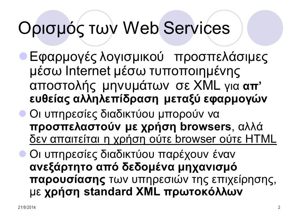 21/8/201413 SOAP – συντακτικό 1/2 Ένα μήνυμα σε SOAP είναι ένα απλό XML αρχείο και περιέχει:  Απαραίτητα ένα στοιχείο Envelope Αναγνωρίζει το XML αρχείο ως ένα SOAP μήνυμα  Προαιρετικά ένα στοιχείο Header  Απαραίτητα ένα στοιχείο Body Περιέχει πληροφορίες κλήσης και απάντησης  Προαιρετικά ένα στοιχείο Fault Περιέχει πληροφορίες σχετικές με λάθη που γίνονται κατά την επεξεργασία του μηνύματος