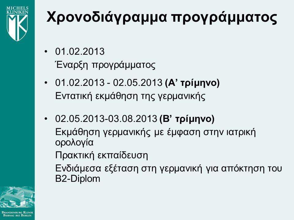 Χρονοδιάγραμμα προγράμματος 01.02.2013 Έναρξη προγράμματος 01.02.2013 - 02.05.2013 (Α' τρίμηνο) Εντατική εκμάθηση της γερμανικής 02.05.2013-03.08.2013