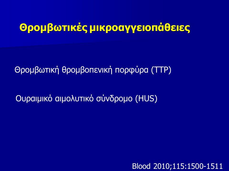 Κλινικές καταστάσεις που εμφανίζονται ως θρομβωτικές μικροαγγειοπάθειες Σύνδρομο HELLP Προεκλαμψία- εκλαμψία Διάχυτη ενδοαγγειακή πήξη Καταστροφικό αντιφωσφολιπιδικό σύνδρομο Σύνδρομο Evans Θρομβοπενία από ηπαρίνη