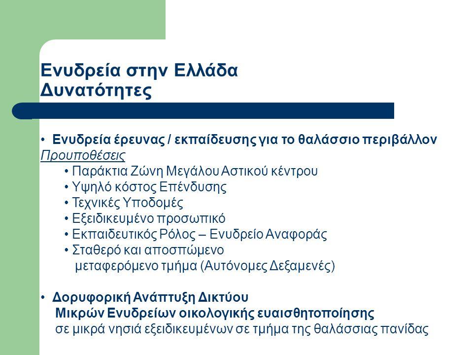 Ενυδρεία στην Ελλάδα Δυνατότητες Ενυδρεία έρευνας / εκπαίδευσης για το θαλάσσιο περιβάλλον Προυποθέσεις Παράκτια Ζώνη Μεγάλου Αστικού κέντρου Υψηλό κό