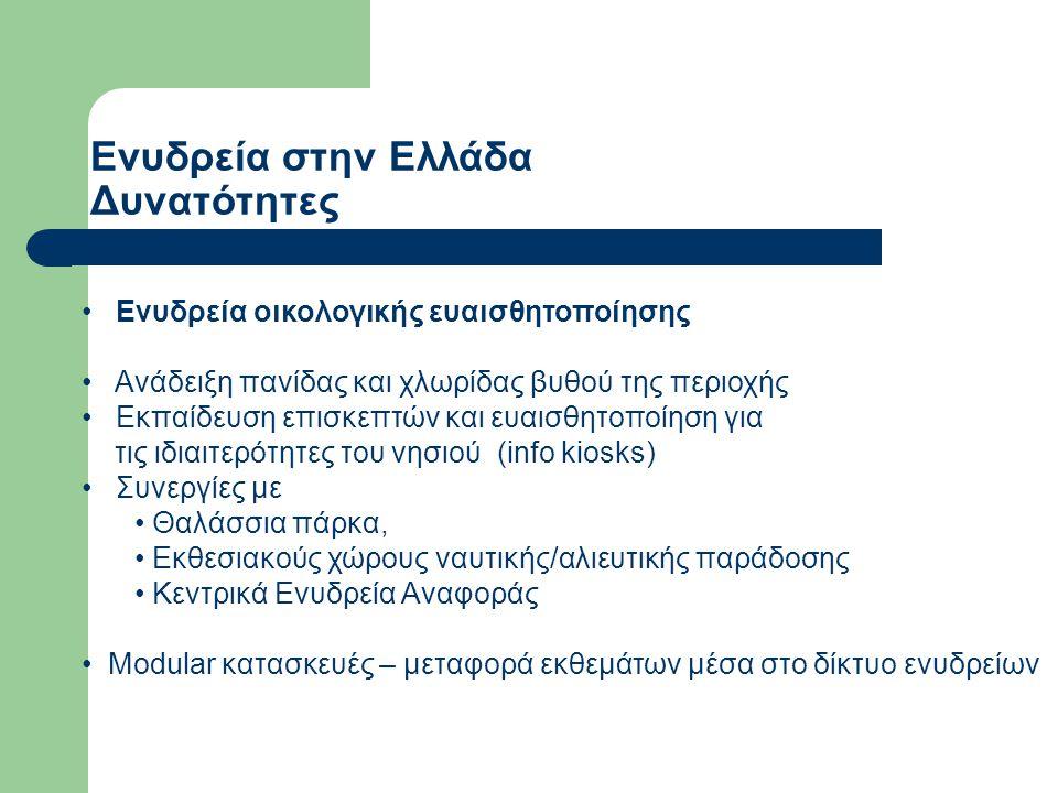 Ενυδρεία στην Ελλάδα Δυνατότητες Ενυδρεία οικολογικής ευαισθητοποίησης Ανάδειξη πανίδας και χλωρίδας βυθού της περιοχής Εκπαίδευση επισκεπτών και ευαι