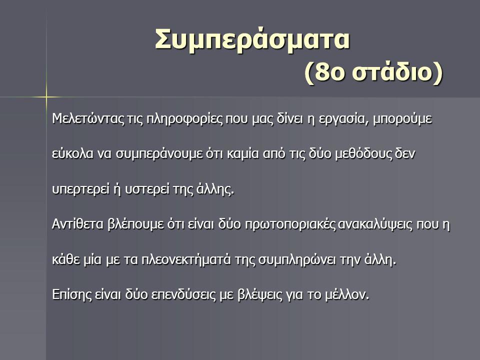 Συμπεράσματα (8ο στάδιο) Συμπεράσματα (8ο στάδιο) Μελετώντας τις πληροφορίες που μας δίνει η εργασία, μπορούμε εύκολα να συμπεράνουμε ότι καμία από τι