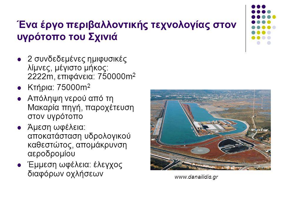 Ένα έργο περιβαλλοντικής τεχνολογίας στον υγρότοπο του Σχινιά 2 συνδεδεμένες ημιφυσικές λίμνες, μέγιστο μήκος: 2222m, επιφάνεια: 750000m 2 Κτήρια: 750