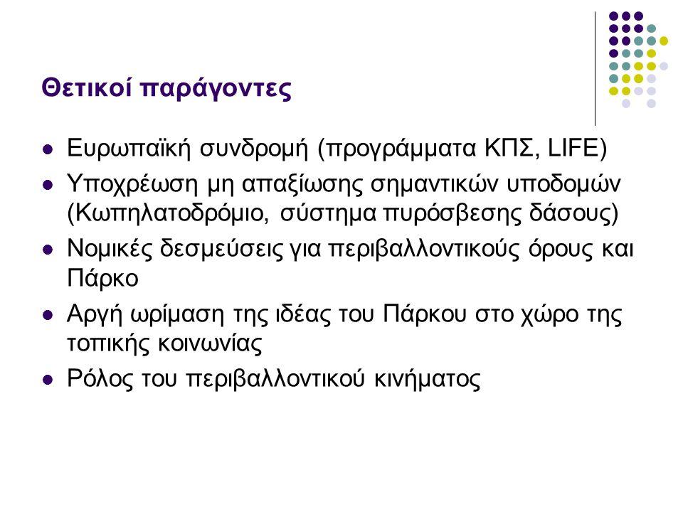 Θετικοί παράγοντες Ευρωπαϊκή συνδρομή (προγράμματα ΚΠΣ, LIFE) Υποχρέωση μη απαξίωσης σημαντικών υποδομών (Κωπηλατοδρόμιο, σύστημα πυρόσβεσης δάσους) Ν