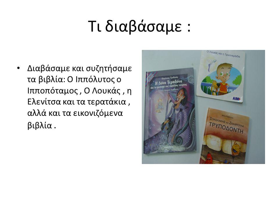 Τι διαβάσαμε : Διαβάσαμε και συζητήσαμε τα βιβλία: Ο Ιππόλυτος ο Ιπποπόταμος, Ο Λουκάς, η Ελενίτσα και τα τερατάκια, αλλά και τα εικονιζόμενα βιβλία.