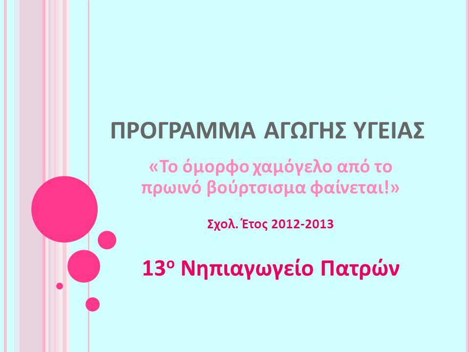 Υπεύθυνη Εκπαιδευτικός: Γραμματικού Χρυσούλα Συνεργαζόμενοι: Ρεντζιλά Ιωάννα, Γεωργακοπούλου Γεωργία Τμήμα: Ολοήμερο Τμήμα 13 ου Νηπιαγωγείου Πατρών
