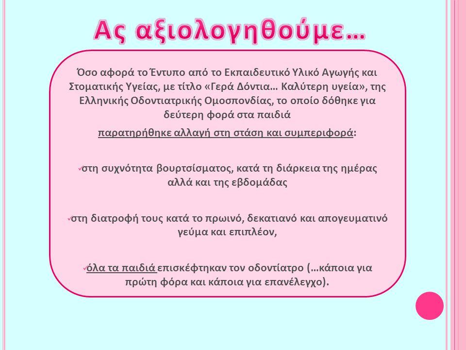 Όσο αφορά το Έντυπο από το Εκπαιδευτικό Υλικό Αγωγής και Στοματικής Υγείας, με τίτλο «Γερά Δόντια… Καλύτερη υγεία», της Ελληνικής Οδοντιατρικής Ομοσπο