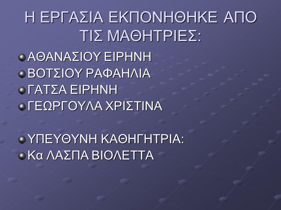 ΒΙΒΛΙΟΓΡΑΦΙΑ - ΠΗΓΕΣ ΒΙΒΛΙΟ ΒΙΟΛΟΓΙΑΣ Α΄ΓΥΜΝΑΣΙΟΥ ΗΛΕΚΤΡΟΝΙΚΗ ΕΓΚΥΚΛΟΠΑΙΔΙΑ WIKIPEDIΑ ΣΧΕΤΙΚΗ ΕΡΓΑΣΙΑ ΦΟΙΤΗΤΩΝ ΝΟΣΗΛΕΥΤΙΚΗΣ ΔΙΑΔΙΚΤΥΟ