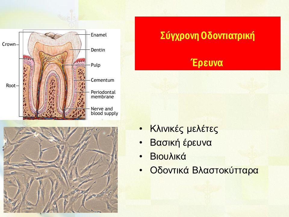 Κλινικές μελέτες Βασική έρευνα Βιουλικά Οδοντικά Βλαστοκύτταρα Σύγχρονη Οδοντιατρική Έρευνα