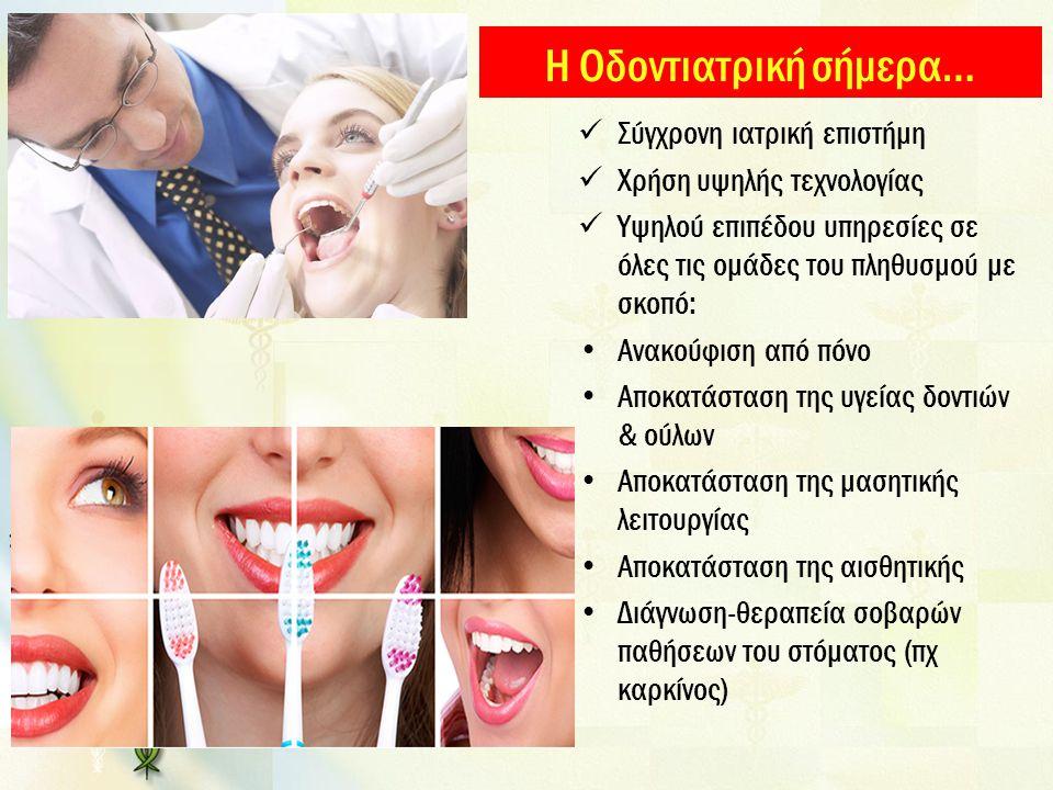 Η Οδοντιατρική σήμερα… Σύγχρονη ιατρική επιστήμη Χρήση υψηλής τεχνολογίας Υψηλού επιπέδου υπηρεσίες σε όλες τις ομάδες του πληθυσμού με σκοπό: Ανακούφιση από πόνο Αποκατάσταση της υγείας δοντιών & ούλων Αποκατάσταση της μασητικής λειτουργίας Αποκατάσταση της αισθητικής Διάγνωση-θεραπεία σοβαρών παθήσεων του στόματος (πχ καρκίνος)