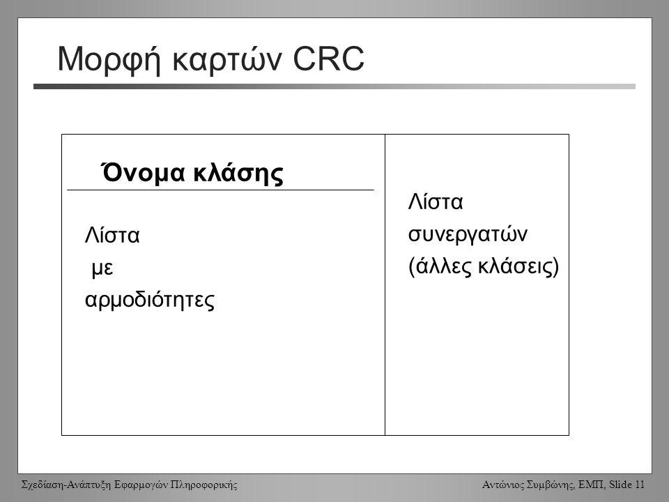 Σχεδίαση-Ανάπτυξη Εφαρμογών Πληροφορικής Αντώνιος Συμβώνης, ΕΜΠ, Slide 11 Μορφή καρτών CRC Όνομα κλάσης Λίστα με αρμοδιότητες Λίστα συνεργατών (άλλες κλάσεις)