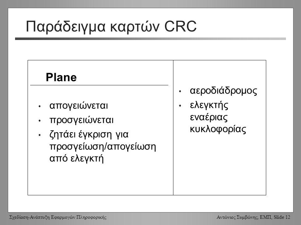 Σχεδίαση-Ανάπτυξη Εφαρμογών Πληροφορικής Αντώνιος Συμβώνης, ΕΜΠ, Slide 12 Παράδειγμα καρτών CRC Plane απογειώνεται προσγειώνεται ζητάει έγκριση για προσγείωση/απογείωση από ελεγκτή αεροδιάδρομος ελεγκτής εναέριας κυκλοφορίας
