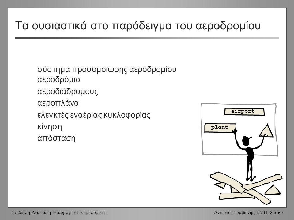 Σχεδίαση-Ανάπτυξη Εφαρμογών Πληροφορικής Αντώνιος Συμβώνης, ΕΜΠ, Slide 8 Παράδειγμα (3) Το έργο είναι ένα σύστημα προσομοίωσης αεροδρομίου.