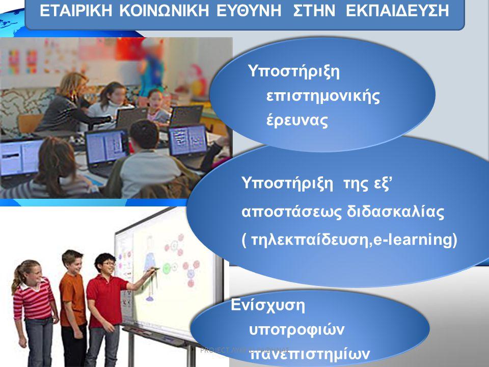ΕΤΑΙΡΙΚΗ ΚΟΙΝΩΝΙΚΗ ΕΥΘΥΝΗ ΣΤHN EKΠΑΙΔΕΥΣΗ Υποστήριξη της εξ' αποστάσεως διδασκαλίας ( τηλεκπαίδευση,e-learning) Υποστήριξη της εξ' αποστάσεως διδασκαλ