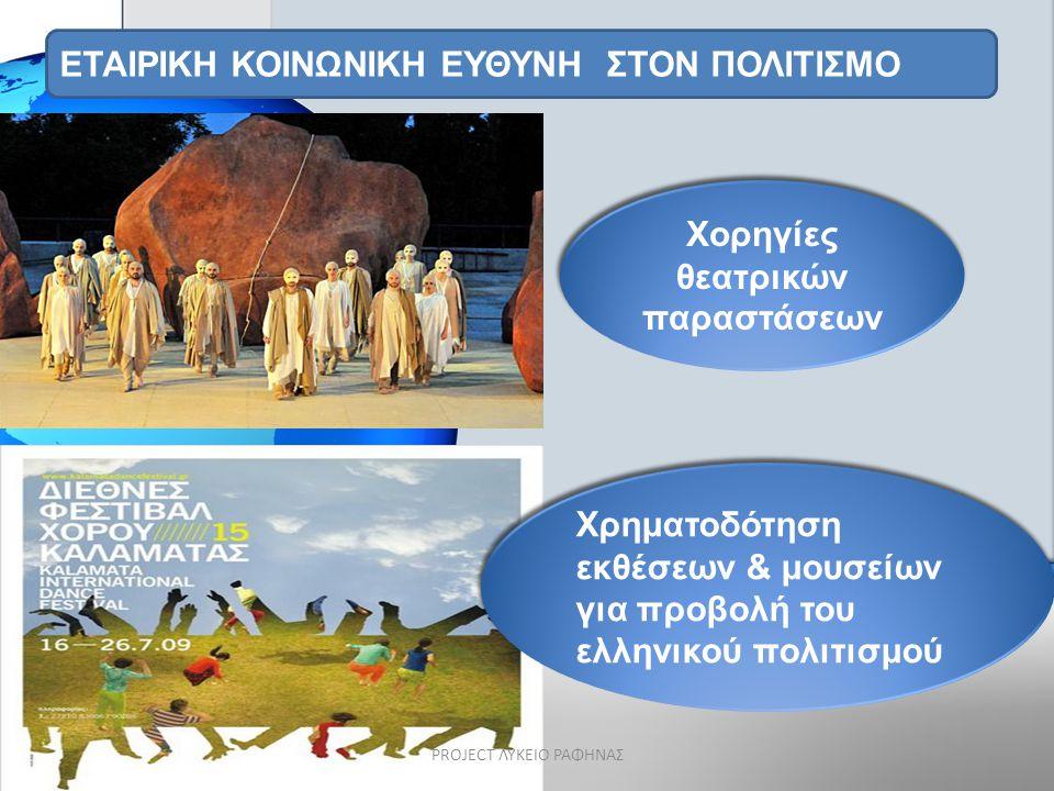 ΕΤΑΙΡΙΚΗ ΚΟΙΝΩΝΙΚΗ ΕΥΘΥΝΗ ΣΤΟΝ ΠΟΛΙΤΙΣΜΟ Χρηματοδότηση εκθέσεων & μουσείων για προβολή του ελληνικού πολιτισμού Χορηγίες θεατρικών παραστάσεων PROJECT