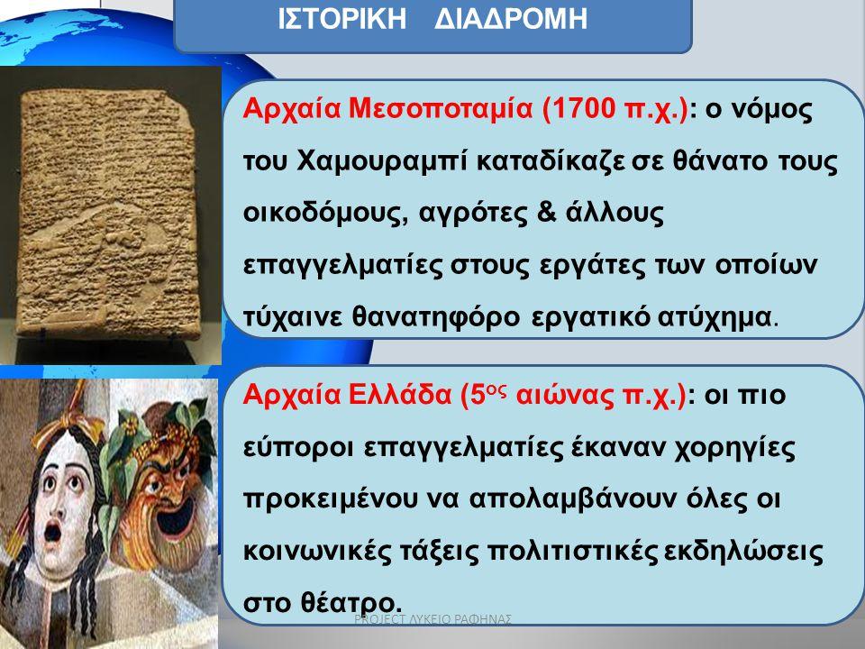 ΙΣΤΟΡΙΚΗ ΔΙΑΔΡΟΜΗ Αρχαία Μεσοποταμία (1700 π.χ.): ο νόμος του Χαμουραμπί καταδίκαζε σε θάνατο τους οικοδόμους, αγρότες & άλλους επαγγελματίες στους ερ