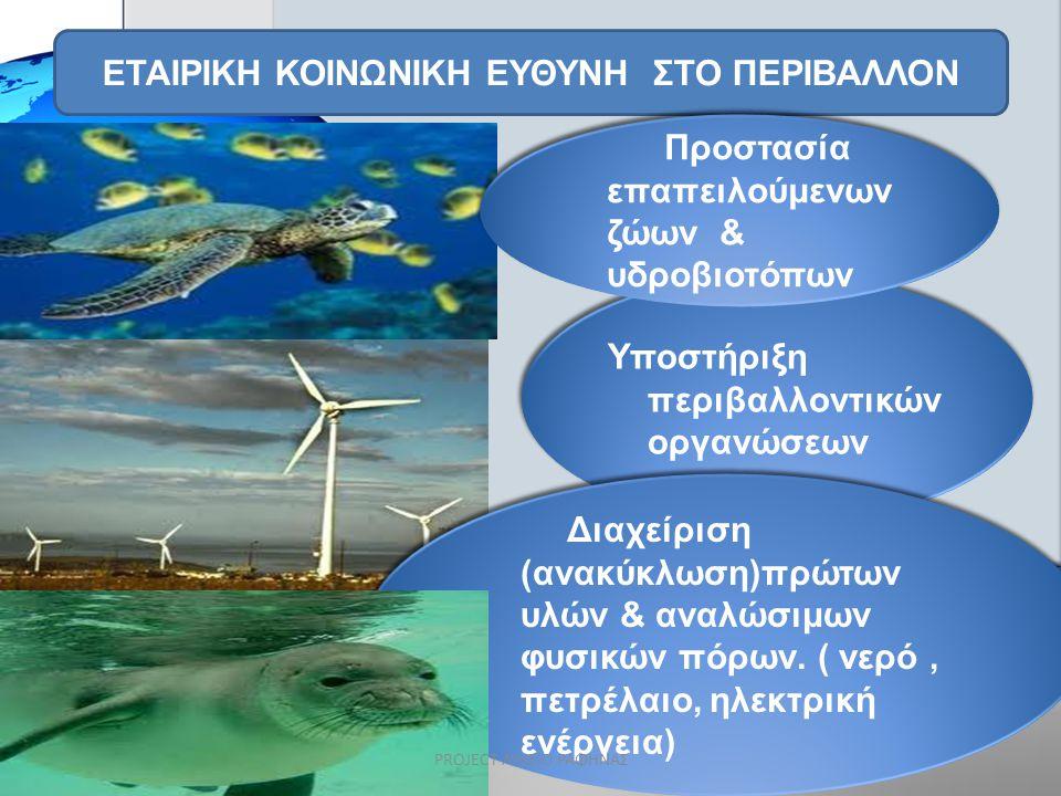 ΕΤΑΙΡΙΚΗ ΚΟΙΝΩΝΙΚΗ ΕΥΘΥΝΗ ΣΤΟ ΠΕΡΙΒΑΛΛΟΝ Υποστήριξη περιβαλλοντικών οργανώσεων Διαχείριση (ανακύκλωση)πρώτων υλών & αναλώσιμων φυσικών πόρων. ( νερό,
