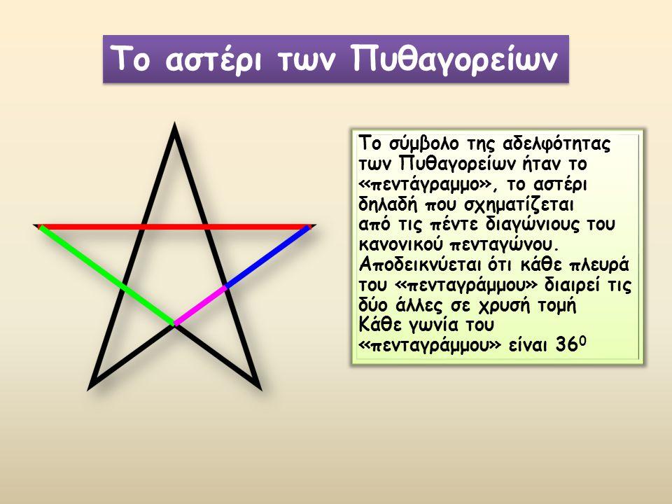 Το σύμβολο της αδελφότητας των Πυθαγορείων ήταν το «πεντάγραμμο», το αστέρι δηλαδή που σχηματίζεται από τις πέντε διαγώνιους του κανονικού πενταγώνου.