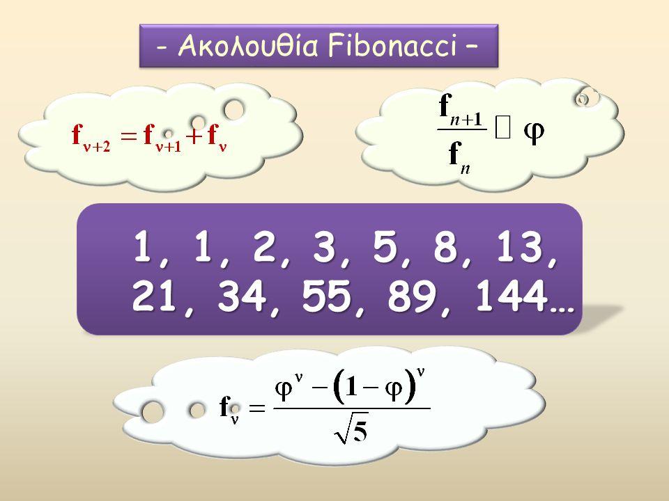1, 1, 2, 3, 5, 8, 13, 21, 34, 55, 89, 144… - Ακολουθία Fibonacci –