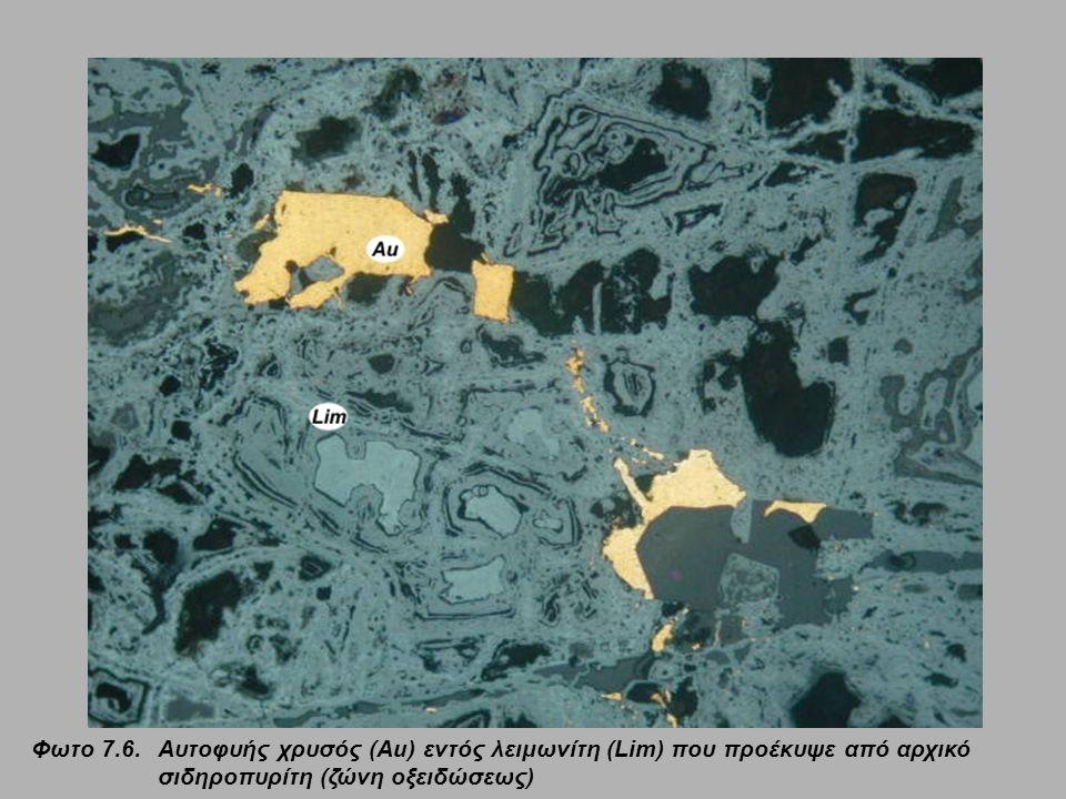 Φωτο 7.6.Aυτοφυής χρυσός (Au) εντός λειμωνίτη (Lim) που προέκυψε από αρχικό σιδηροπυρίτη (ζώνη οξειδώσεως)