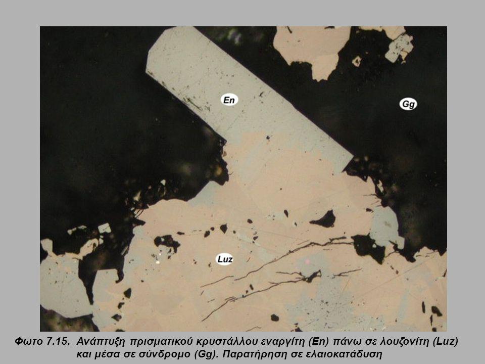 Φωτο 7.15.Ανάπτυξη πρισματικού κρυστάλλου εναργίτη (En) πάνω σε λουζονίτη (Luz) και μέσα σε σύνδρομο (Gg). Παρατήρηση σε ελαιοκατάδυση