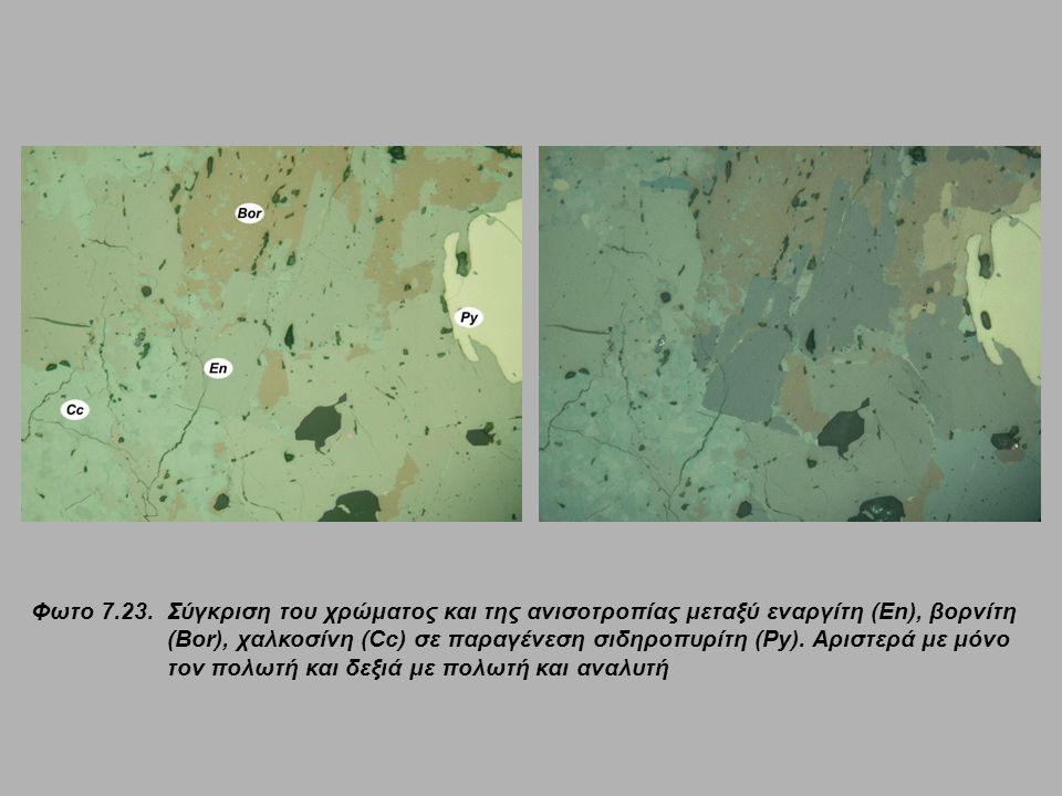 Φωτο 7.23.Σύγκριση του χρώματος και της ανισοτροπίας μεταξύ εναργίτη (En), βορνίτη (Bor), χαλκοσίνη (Cc) σε παραγένεση σιδηροπυρίτη (Py). Αριστερά με
