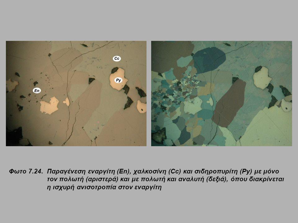 Φωτο 7.24.Παραγένεση εναργίτη (En), χαλκοσίνη (Cc) και σιδηροπυρίτη (Py) με μόνο τον πολωτή (αριστερά) και με πολωτή και αναλυτή (δεξιά), όπου διακρίν