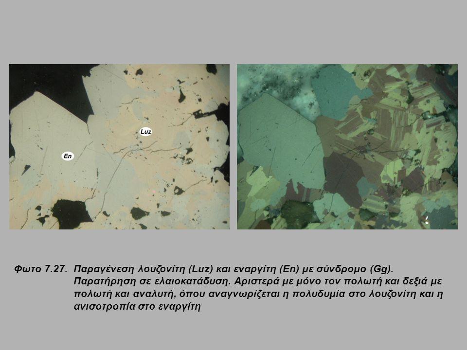 Φωτο 7.27.Παραγένεση λουζονίτη (Luz) και εναργίτη (En) με σύνδρομο (Gg). Παρατήρηση σε ελαιοκατάδυση. Αριστερά με μόνο τον πολωτή και δεξιά με πολωτή
