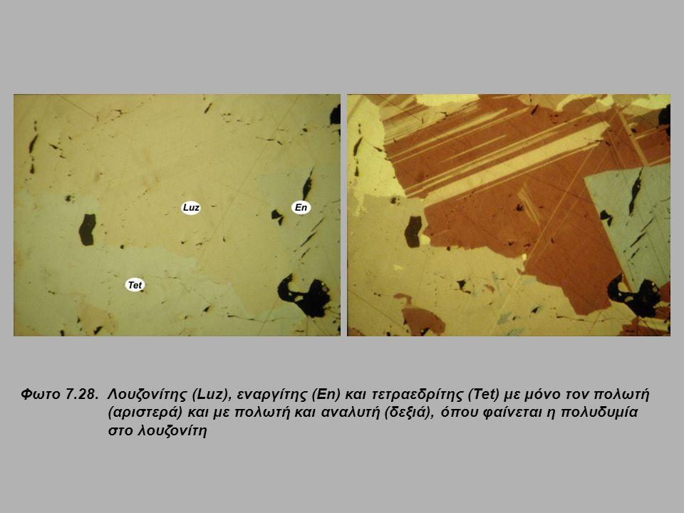 Φωτο 7.28.Λουζονίτης (Luz), εναργίτης (En) και τετραεδρίτης (Tet) με μόνο τον πολωτή (αριστερά) και με πολωτή και αναλυτή (δεξιά), όπου φαίνεται η πολ
