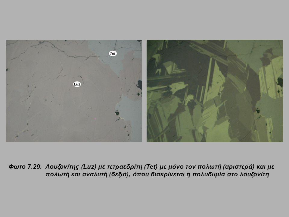 Φωτο 7.29.Λουζονίτης (Luz) με τετραεδρίτη (Tet) με μόνο τον πολωτή (αριστερά) και με πολωτή και αναλυτή (δεξιά), όπου διακρίνεται η πολυδυμία στο λουζ