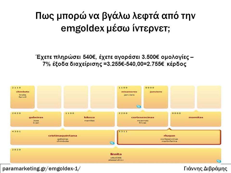 Πως μπορώ να βγάλω λεφτά από την emgoldex μέσω ίντερνετ; paramarketing.gr/emgoldex-1/ Γιάννης Διβράμης Έχετε πληρώσει 540€, έχετε αγοράσει 3.500€ ομολ