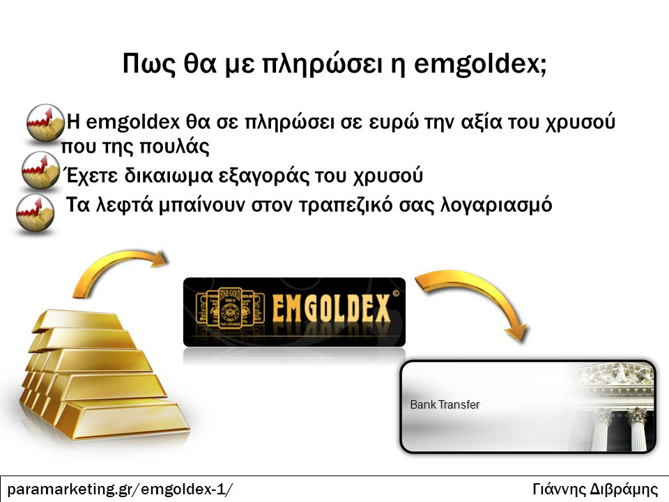 Πως θα με πληρώσει η emgoldex; Η emgoldex θα σε πληρώσει σε ευρώ την αξία του χρυσού που της πουλάς Έχετε δικαιωμα εξαγοράς του χρυσού Τα λεφτά μπαίνο