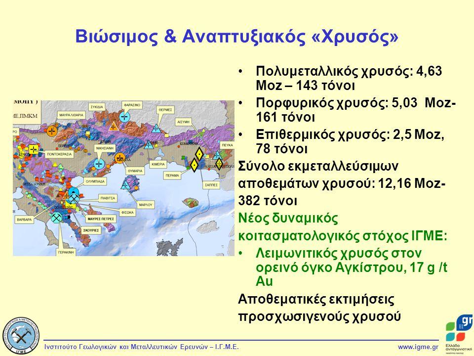 Ινστιτούτο Γεωλογικών και Μεταλλευτικών Ερευνών – Ι.Γ.Μ.Ε.www.igme.gr Βιώσιμος & Αναπτυξιακός «Χρυσός» Πολυμεταλλικός χρυσός: 4,63 Moz – 143 τόνοι Πορ