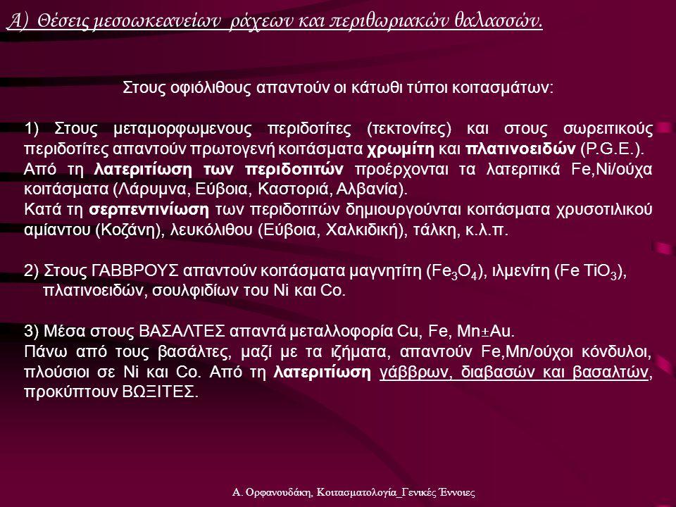 Α. Ορφανουδάκη, Κοιτασματολογία_Γενικές Έννοιες Α) Θέσεις μεσοωκεανείων ράχεων και περιθωριακών θαλασσών. Στους οφιόλιθους απαντούν οι κάτωθι τύποι κο