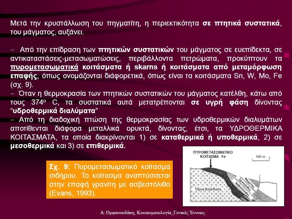 Α. Ορφανουδάκη, Κοιτασματολογία_Γενικές Έννοιες Μετά την κρυστάλλωση του πηγματίτη, η περιεκτικότητα σε πτητικά συστατικά, του μάγματος, αυξάνει.  Απ